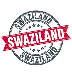 Swaziland red round grunge vintage ribbon stamp vector