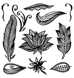 Set of Ornamental Boho Style Elements vector image