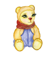 bear painted in watercolor with scarf pants vector image