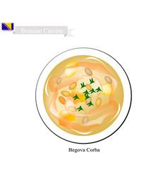 Begova corba or traditional bosnia bey soup vector