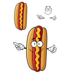 Cartooned smiling hot dog for fast food design vector image