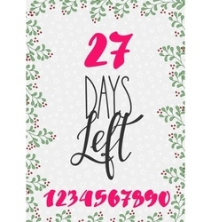 Christmas countdown lettering typography set vector