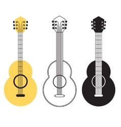 Classical acoustic guitar set vector image vector image