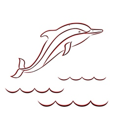 Contour of a dolphin in red and black colors vector