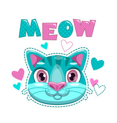 Cute childish print with cat face and hearts vector