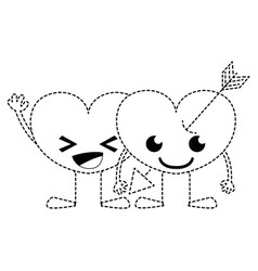 Dotted shape smile hearts couple kawaii cartoons vector