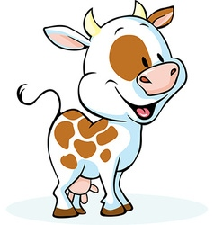 funny cow cartoon standing and smiling - vector image vector image