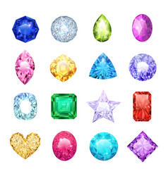 Gem realistic icon set vector