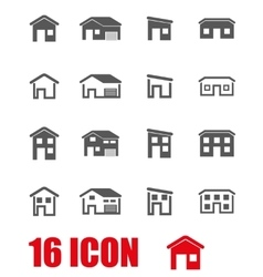 Grey house icon set vector