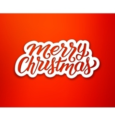Merry Christmas text on white paper label vector image vector image