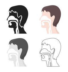 Respiratory system icon cartoon single medicine vector