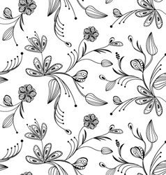 seamless floral pattern balck and white vector image