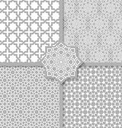 Seamless islamic patterns set vector