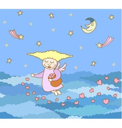 seamless pattern made from cartoon flying girl vector image
