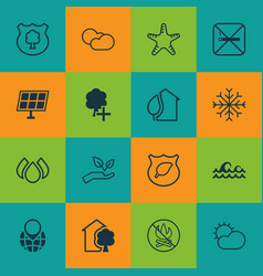 Set of 16 ecology icons includes snow aqua vector