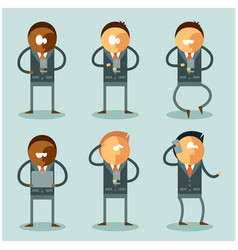 Set of flat business men and their phones vector