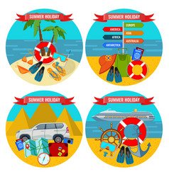set of summer holidays posters travelling by land vector image
