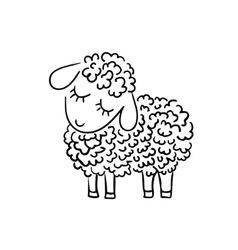 Sheep sketch on white background vector image