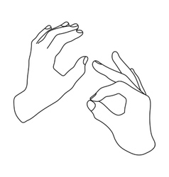 Sign language icon in outline style isolated on vector