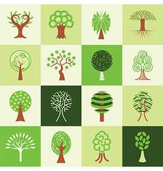 trees logo icons vector image vector image