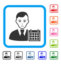 User calendar framed pitiful icon vector