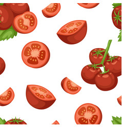 Vegetable organic food ripe sliced tomato seamless vector