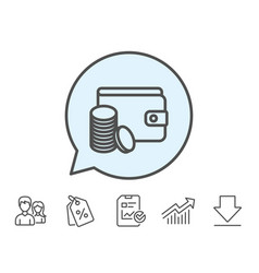 Wallet with coins line icon cash money vector