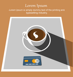 White cup coffee with credit card on tablecloth vector