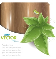 wood plank with leaves vector image vector image