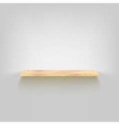 Wood shelf attached to the wall vector