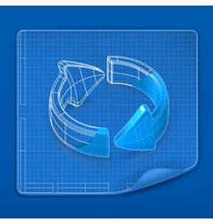 Drawing arrow blueprint vector