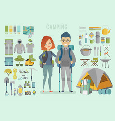 Camping infographic young couple ready for vector