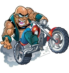 Wild bald biker dude vector