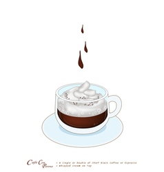 A cup of espresso con panna with whipped cream vector