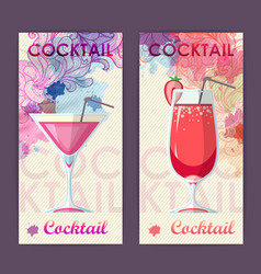 Flat cocktail design on artistic background vector