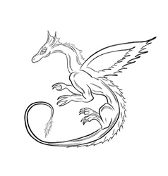 Black dragon over white vector