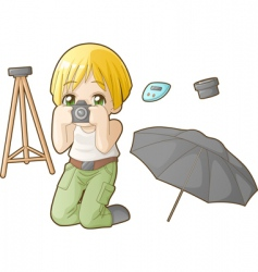 Chibi professions sets photographer vector