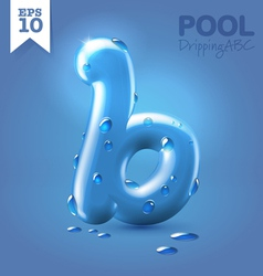 Wet blue glossy font vector image