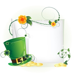 Green leprechaun hat and sheet of white paper vector