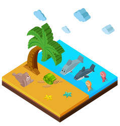 3d design for beach scene with lots of animals vector image vector image