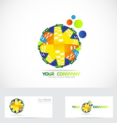 Colored globe logo abstract vector