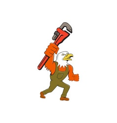 Bald eagle plumber monkey wrench cartoon vector