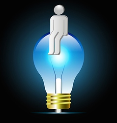 Glowing blue light bulb with human shape vector