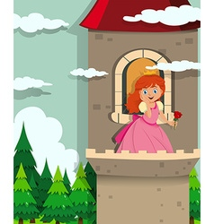 Princess on the tower vector