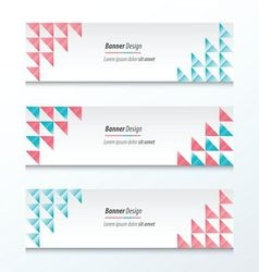 Triangle banner pink and blue styles vector