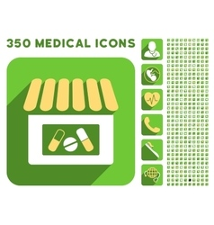 Drugstore icon and medical longshadow icon set vector