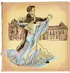 An hand drawn colored line art - waltz dance vector