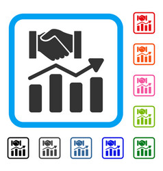 Acquisition hands graph trend framed icon vector