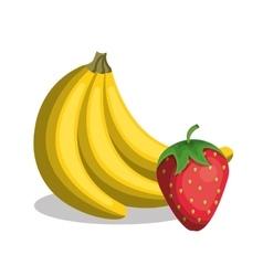 Banana and strawberry fresh vector