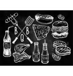 Barbecue food set line art vector image